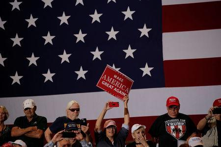 Supporters of U.S. President Donald Trump attend a rally in Las Vegas, Nevada, September 20, 2018. Picture taken September 20, 2018. REUTERS/Mike Segar