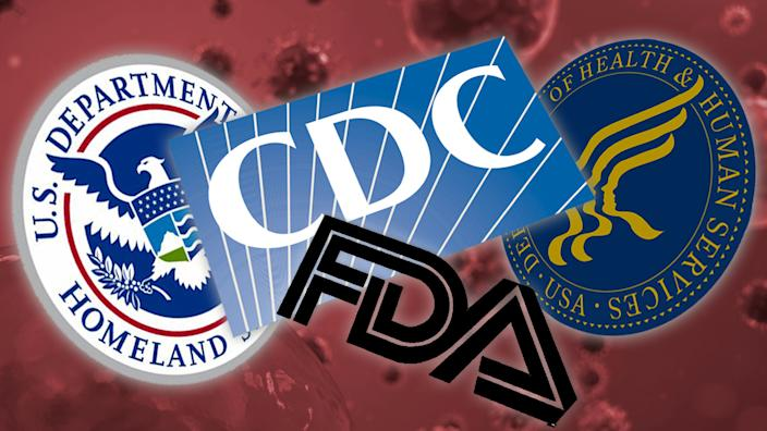 Logos: U. S. Department of Homeland Security, Centers for Disease Control, Food and Drug Administration, and Department of Health & Human Services. (Photo illustration: Yahoo News; photo: Getty Images)