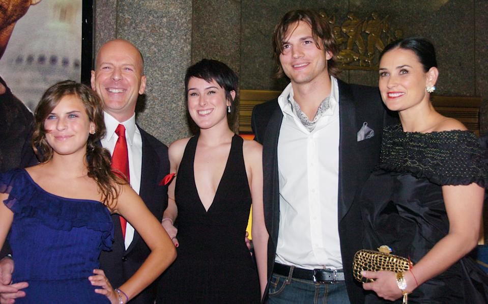 """UNITED STATES - JUNE 22:  Demi Moore, along with husband Ashton Kutcher, joins Bruce Willis and their daughters Tallulah (left) and Rumer at Radio City Music Hall for the premiere of the movie """"Live Free or Die Hard."""" Willis stars in the fourth installment of the """"Die Hard"""" franchise.  (Photo by Richard Corkery/NY Daily News Archive via Getty Images)"""