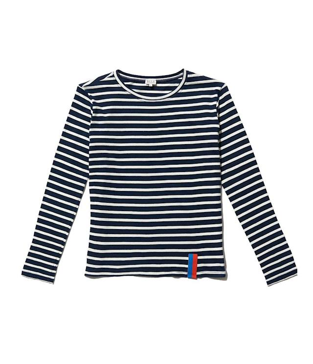 "<p><span>The Modern Long in Navy/Cream, $98, <a href=""https://www.kule.com/collections/modern-long/products/the-modern-long-navy-cream"" rel=""nofollow noopener"" target=""_blank"" data-ylk=""slk:kule.com"" class=""link rapid-noclick-resp"">kule.com</a></span> </p>"