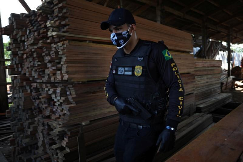 Police operation named Flora Amazonica against illegal sawmills and loggers in Manacapuru near Manaus, Amazonas state