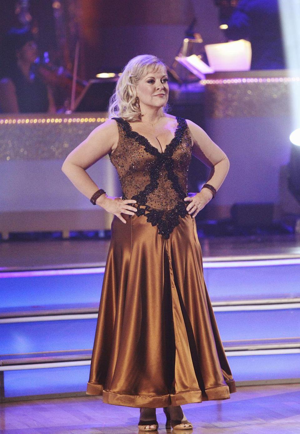 """<p>During the season 13 premiere, Nancy Grace's costume caught some attention. When receiving comments from the judges, Tristan MacManus noted that things were a bit...top heavy...and suggest the star suffered a wardrobe malfunction. However, Nancy stuck to her guns and later refuted there was a mishap, """"There may have been, as Tristan said, a little bit of jiggling, but there was absolutely not a wardrobe malfunction,"""" Nancy told <em><a href=""""https://www.usmagazine.com/entertainment/news/dwts-nancy-grace-there-was-no-nip-slip-just-a-little-bit-of-jiggling-2011279/"""" rel=""""nofollow noopener"""" target=""""_blank"""" data-ylk=""""slk:US Weekly"""" class=""""link rapid-noclick-resp"""">US Weekly</a>.</em></p>"""