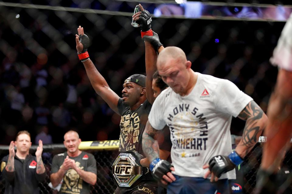 Jon Jones celebrates after his win against Anthony Smith in a light heavyweight mixed martial arts title bout at UFC 235, Saturday, March 2, 2019, in Las Vegas. (AP Photo/John Locher)