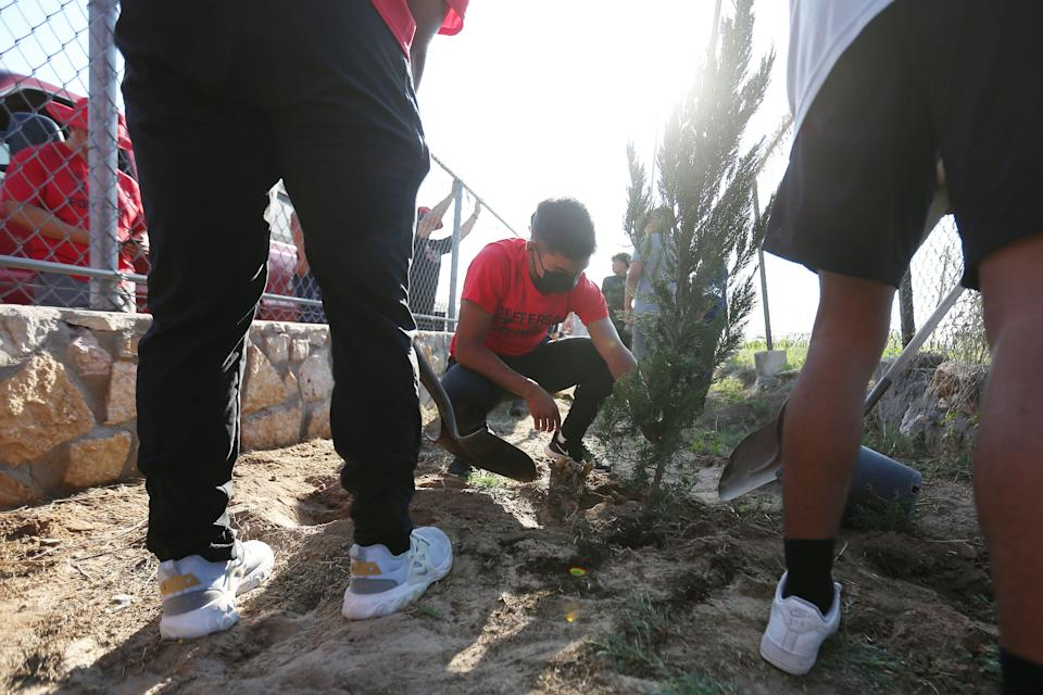 Jefferson High School students honor the victims of the Aug. 3, 2019, Walmart shooting by planting 23 trees in an area south of the football field Friday, July 30, 2021, in El Paso. There are 22 Spartan Junipers and 1 Raywood Ash in honor of Jefferson High School alum Arturo Benavides, a decorated U.S. Army veteran.