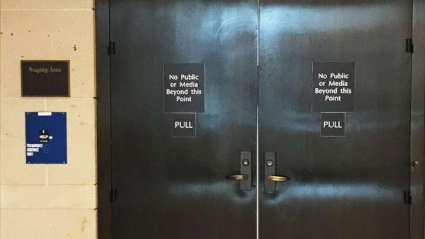 PHOTO: A view of the closed doors where senators will review the FBI supplemental report on the Kavanaugh investigation, Oct. 4, 2018, in Washington, D.C. (ABC News)