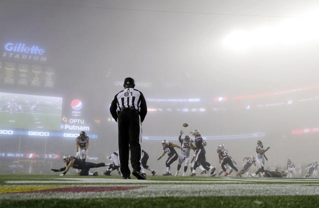 Last month, fog forced NBC to use its SkyCam angle during the Patriots-Falcons game; next week, they'll use SkyCam as the primary angle intentionally. (AP)