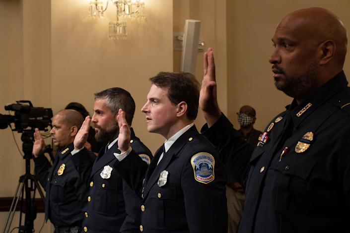The four officers who testified at the 6 January committee's first hearing (EPA)