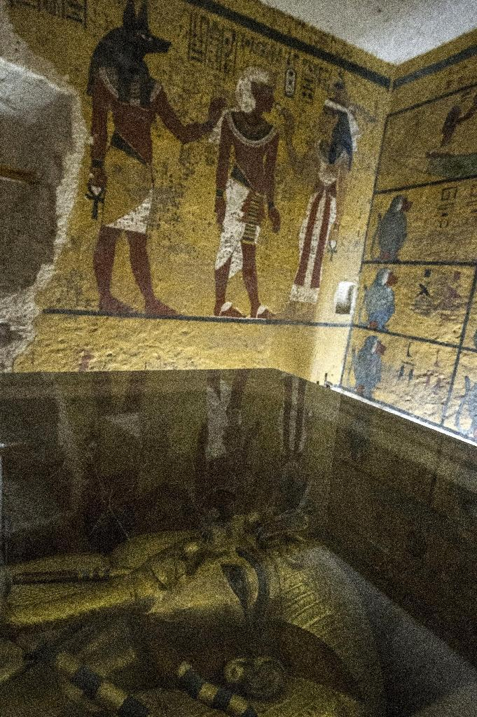 The golden sarcophagus of King Tutankhamun in his burial chamber at the Valley of the Kings (AFP Photo/Khaled Desouki)