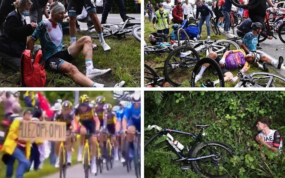 It was a chaotic opening day on the Tour de France, resulting in four riders abandoning and numerous injuries to others involved in the two mass pile-ups that overshadowed Julian Alaphilippe's win - GETTY IMAGES / REUTERS / EUROSPORT