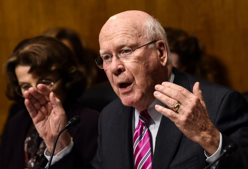 "Sen. Patrick Leahy (D-Vt.) has said Kavanaugh ""was not forthright"" with him about his access to Democratic strategy documents that Republican aides stole from Leahy in 2003 and passed to George W. Bush's White House, where Kavanaugh worked. ""I'm bothered by it."" (BRENDAN SMIALOWSKI via Getty Images)"