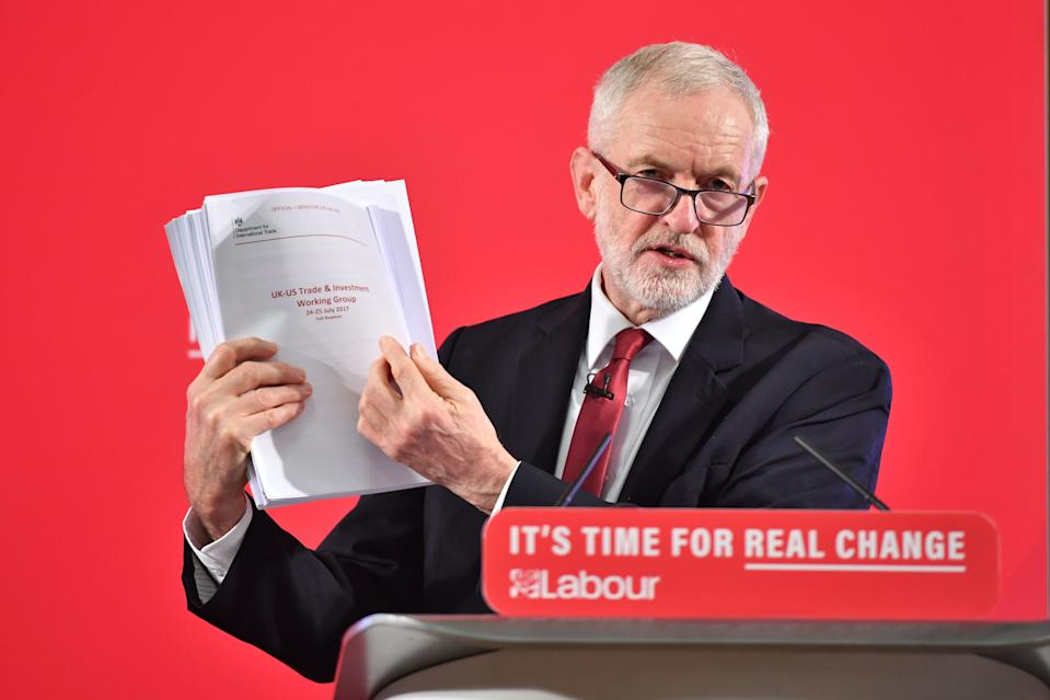 RETANSMITTING AMENDING CAPTION TO UNREDACTED Labour leader Jeremy Corbyn holds an unredacted copy of the Department for International Trade's UK-US Trade and Investment Working Group readout as he delivers a speech about the NHS, in Westminster, London. (Photo by Dominic Lipinski/PA Images via Getty Images)