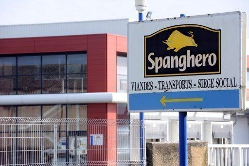 The logo for French meat firm Spanghero is pictured on a sign at the entrance of the plant in Castelnaudary, southeastern France, on February 10, 2013. Spanghero, which sparked a Europe-wide food scandal by allegedly passing off 750 tonnes of horsemeat as beef, was allowed Monday to resume production of minced meat, sausages and ready-to-eat meals
