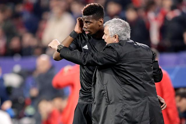 Mourinho introduced Pogba from the bench in their Champions League round of 16 tie with Seville