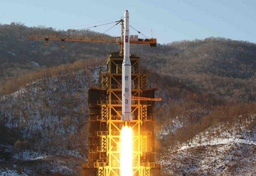 North Korean rocket Unha-3 lifts off from its launching pad in North Korea, on December 12, 2012