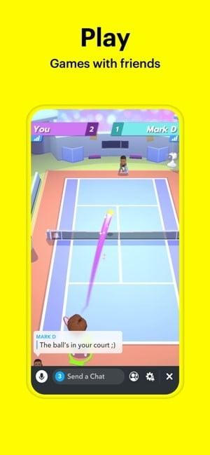 Screenshot of Snapchat play games with friends feature