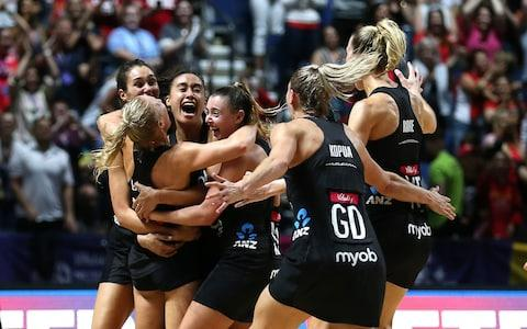 New Zealand players celebrate their victory against Australia in the final during the Netball World Cup match at the M&S Bank Arena, Liverpool. PRESS ASSOCIATION Photo. Picture date: Sunday July 21, 2019 - Credit: PA