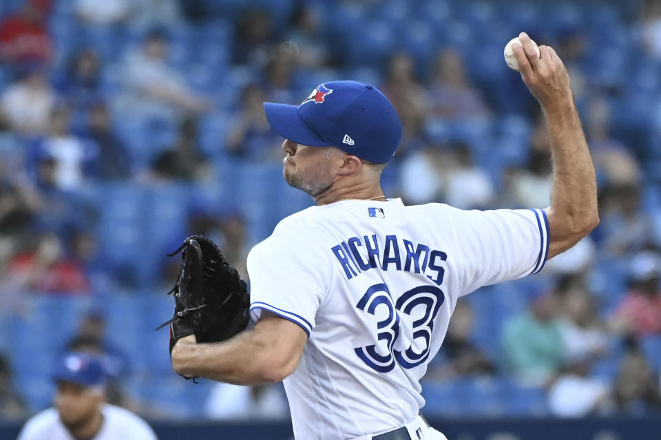 Toronto Blue Jays' Trevor Richards pitches in the sixth inning of a baseball game against the Minnesota Twins in Toronto on Saturday, Sept. 18, 2021. (Jon Blacker/The Canadian Press via AP)