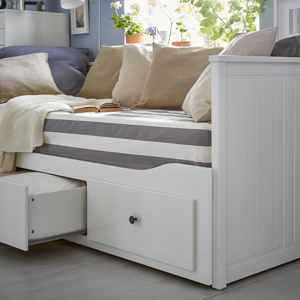 <p>Not only are the drawers on the <span>Hemnes Daybed </span> ($299) superhelpful, but the bed frame pulls out into another bed, making it ideal for overnight guests.</p>