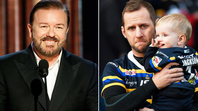 Ricky Gervais and Rob Burrow, pictured here earlier in 2020.