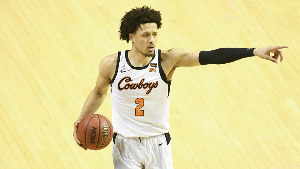 How long will Oklahoma State guard Cade Cunningham remain in the NCAA tournament? (AP Photo/Brody Schmidt)