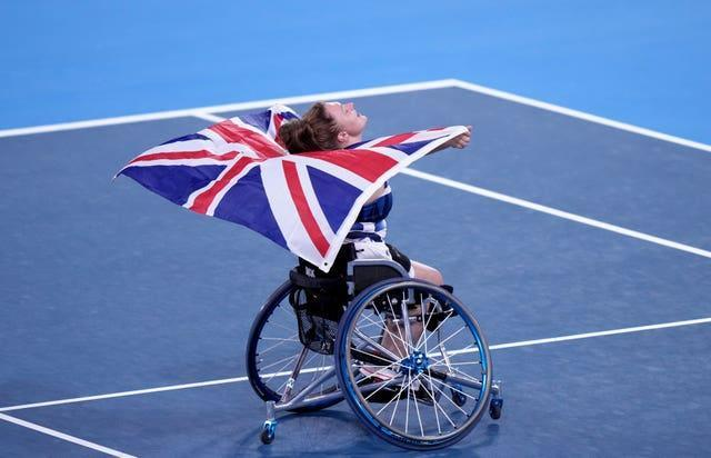 Jordanne Whiley celebrates after winning the women's singles bronze medal match