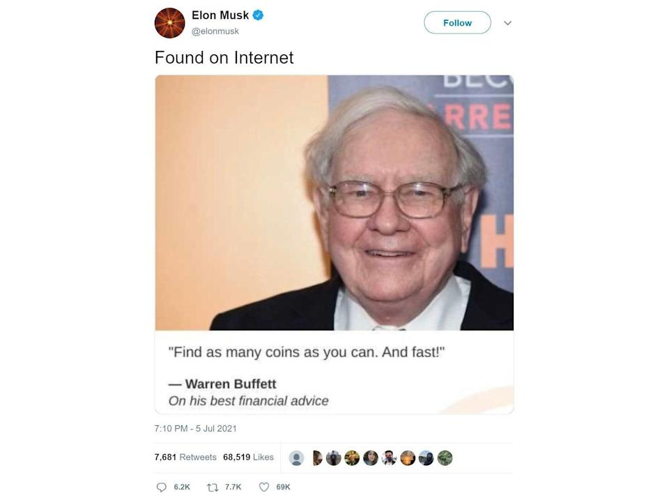 Elon Musk deleted this tweet of a seemingly fake quote from Warren Buffett about cryptocurrency (Twitter/ WayBackMachine)