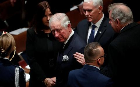 Prince Charles arrives at the funeral for President George HW Bush - Credit: Reuters
