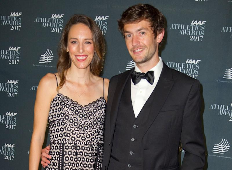 Gabriele Grunewald is seen with her husband, Justin, at the IAAF Athletics Awards in Monaco in 2017. (Photo: SIPA USA/PA Images)