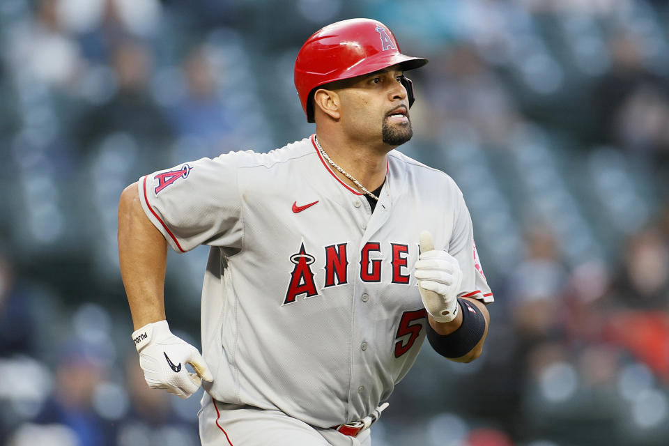 SEATTLE, WASHINGTON - APRIL 30: Albert Pujols #5 of the Los Angeles Angels at bat against the Seattle Mariners at T-Mobile Park on April 30, 2021 in Seattle, Washington. (Photo by Steph Chambers/Getty Images)