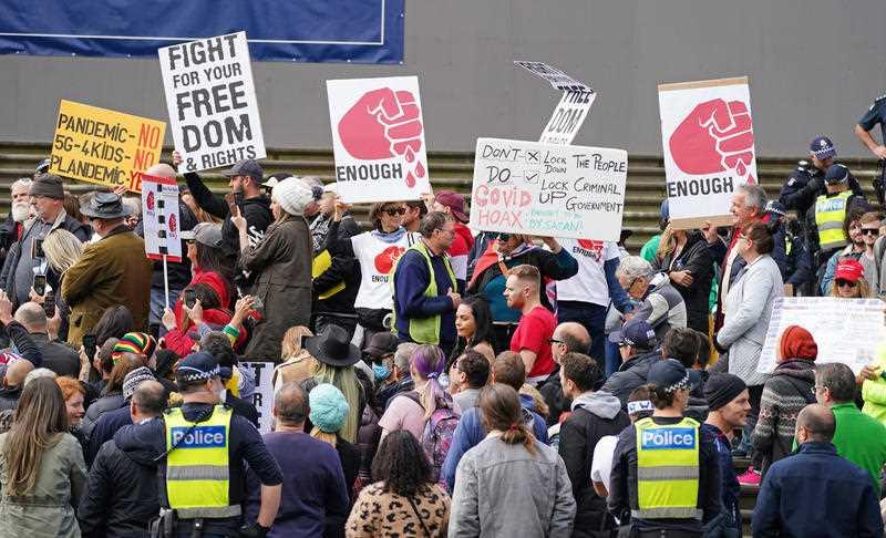 Protesters gather outside Parliament House in Melbourne.