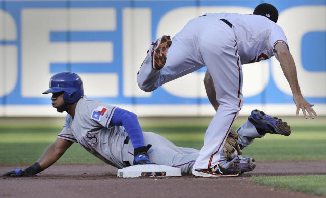 Baltimore Orioles shortstop J.J. Hardy tags out Texas Rangers' Elvis Andrus on a steal attempt in the first inning of a baseball game, Monday, June 30, 2014, in Baltimore. (AP Photo/Gail Burton)