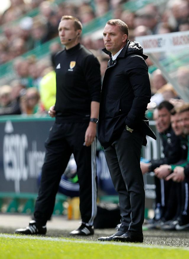 Soccer Football - Scottish Premiership - Hibernian v Celtic - Easter Road, Edinburgh, Britain - April 21, 2018 Celtic manager Brendan Rodgers REUTERS/Russell Cheyne
