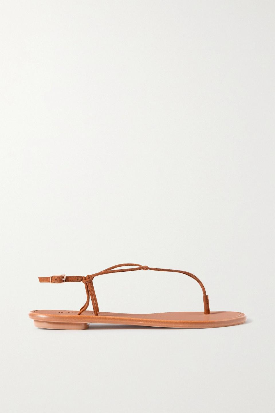"""<p><strong>Aquazzura</strong></p><p>net-a-porter.com</p><p><strong>$395.00</strong></p><p><a href=""""https://click.linksynergy.com/deeplink?id=6Km1lFswsiY&mid=24449&murl=https%3A%2F%2Fwww.net-a-porter.com%2Fen-us%2Fshop%2Fproduct%2Faquazzura%2Fvery-capri-suede-sandals%2F1323215"""" rel=""""nofollow noopener"""" target=""""_blank"""" data-ylk=""""slk:Shop Now"""" class=""""link rapid-noclick-resp"""">Shop Now</a></p><p>You'll walk for miles in this minimalist friendly sandal. The simple design gives a barely-there feel making every day feel like a vacation. </p>"""