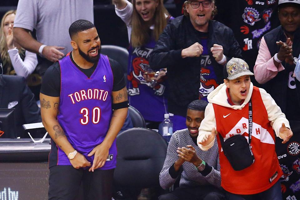 Drake during Game 1 of the Finals.