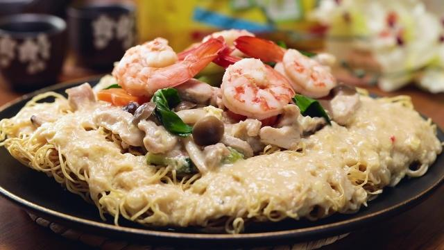 Hong Kong Crispy Noodle with Seafood Gravy