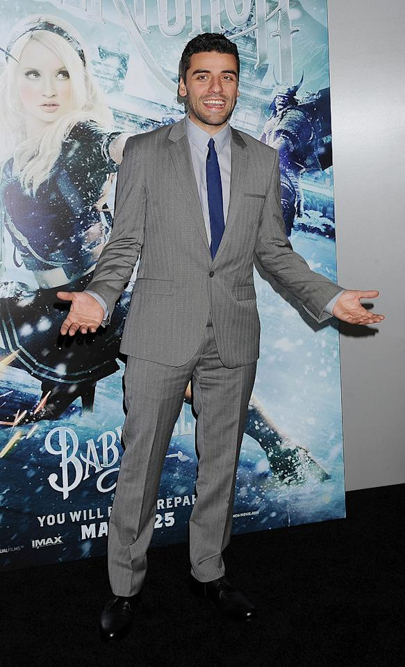 """<a href=""""http://movies.yahoo.com/movie/contributor/1809686686"""">Oscar Isaacs</a> at the Los Angeles premiere of <a href=""""http://movies.yahoo.com/movie/1810133258/info"""">Sucker Punch</a> on March 23, 2011."""