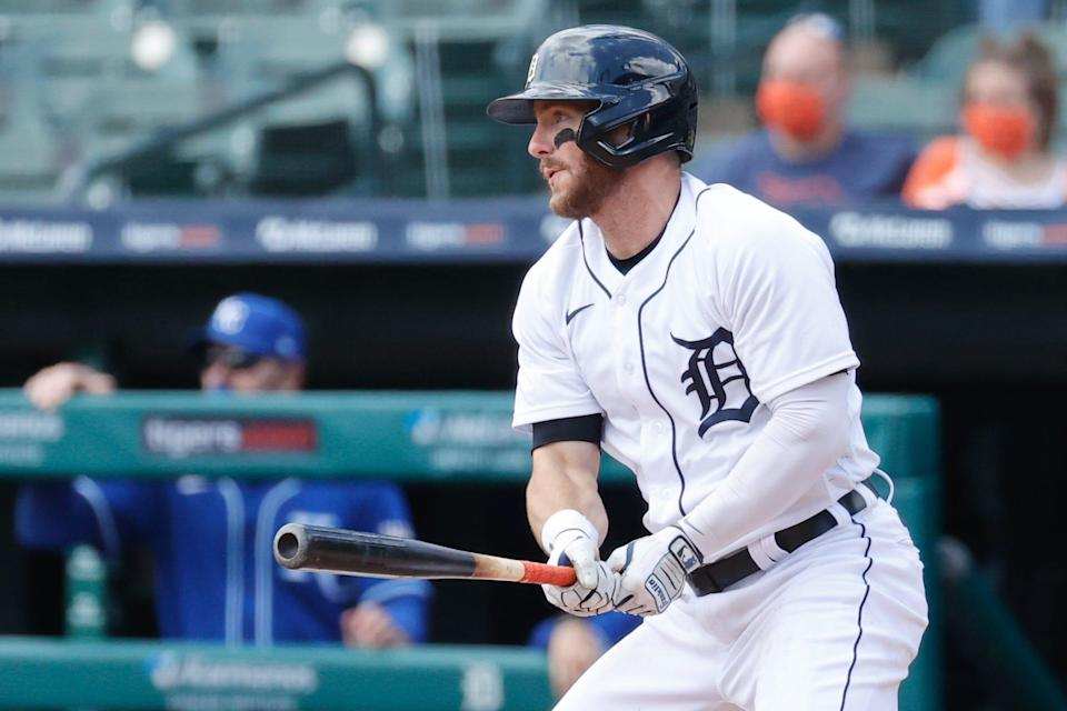 Tigers right fielder Robbie Grossman hits an RBI single in the second inning against the Royals on Thursday, May 13, 2021, at Comerica Park.