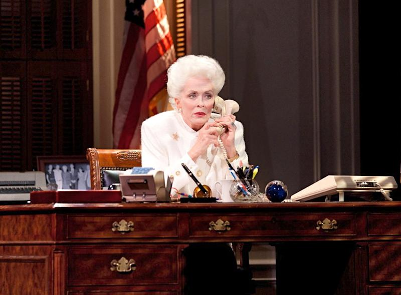 """This theater image released by The Hartman Group shows Holland Taylor as former Texas Gov. Ann Richards during a performance of """"Ann."""" Taylor, perhaps best known for playing the feisty grandmother on the CBS sitcom """"Two and a Half Men,"""" has written and stars in a one-woman show that debuts on Broadway this month.  (AP Photo/The Hartman Group)"""