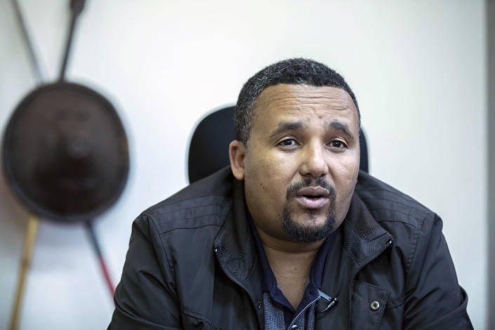 Opposition leader Jawar Mohammed during the exclusive interview with Associated Press at his house in Addis Ababa, Ethiopia, Thursday, Oct. 24, 2019. Ethiopia's Nobel Peace Prize-winning prime minister Abiy Ahmed faced the most serious political challenge of his short rule Thursday as officials said dozens of people might be dead in two days of unrest, and Jawar Mohammed hinted that he might enter next year's election race to challenge Abiy to become Prime Minister. (AP photo Mulugeta Ayene)