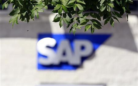A SAP logo is seen at its offices in the CityWest complex, Dublin