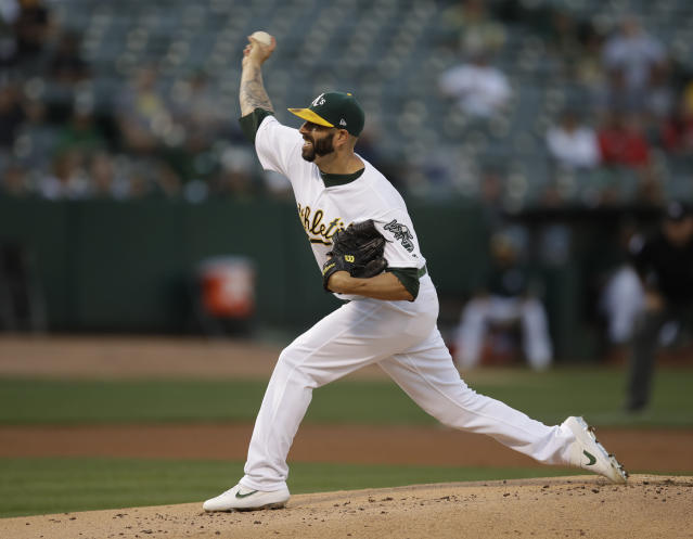 Oakland Athletics pitcher Mike Fiers works against the Houston Astros during the first inning of a baseball game Thursday, Aug. 15, 2019, in Oakland, Calif. (AP Photo/Ben Margot)