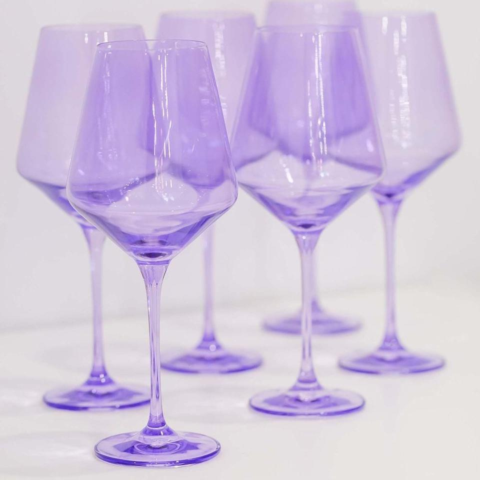"""<p>""""I'm a total sucker for colorful kitchenware and the <span>Estelle Colored Glass Stemmed Wine Glass</span> ($175) set has been on my wish list forever. While it comes in so many pretty color choices, hands down, the purple is my favorite right now."""" - KJ</p>"""