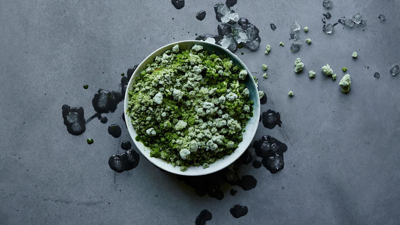 """<p>Refslund makes a syrup with carrot tops and <a rel=""""nofollow"""" href=""""http://www.foodandwine.com/slideshows/cooking-herbs"""">herbs</a>, shaving it into a vegetal granita that can be used as a base for sweet-and-savory dessert courses.</p>"""