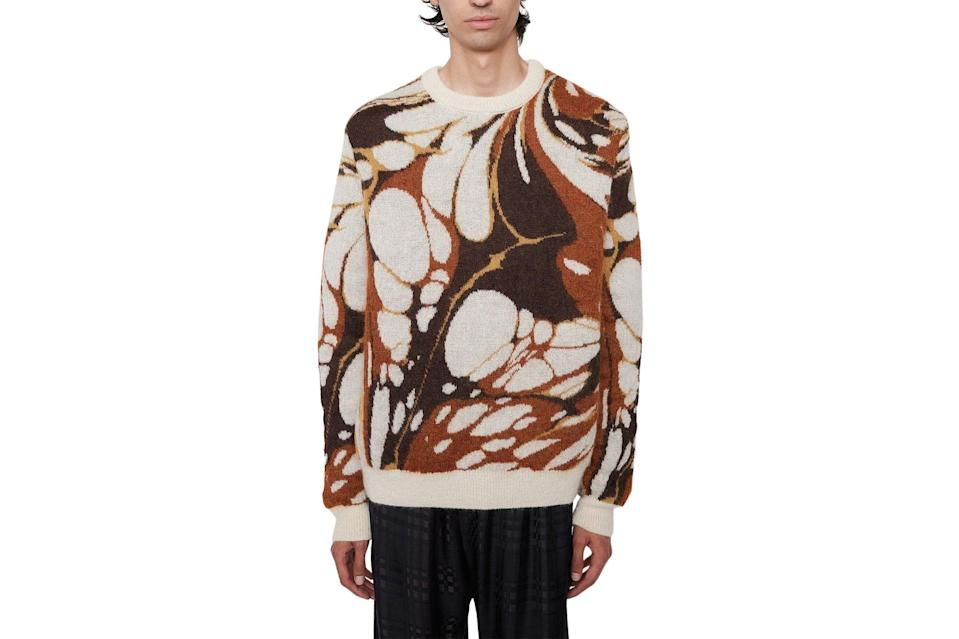 """$587, CMMN SWDN. <a href=""""https://cmmn-swdn.com/collections/knitwear/products/xander-mohair-jumper-brown-marble"""" rel=""""nofollow noopener"""" target=""""_blank"""" data-ylk=""""slk:Get it now!"""" class=""""link rapid-noclick-resp"""">Get it now!</a>"""