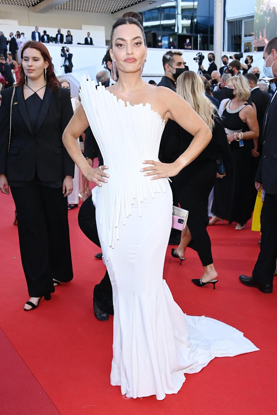 <p>Wearing a gorgeous white Tony Ward Couture gown. </p>