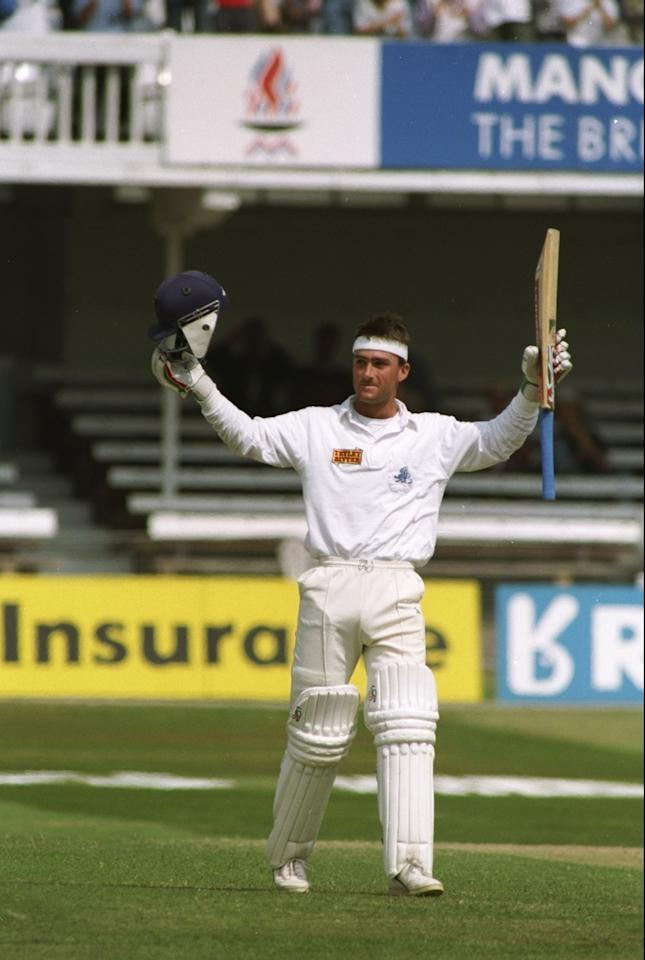 6 Jul 1993:  Graham Thorpe of England celebrates during the Third Ashes Test match against Australia at Trent Bridge in Nottingham, England. The match ended in a draw. \ Mandatory Credit: Ben  Radford/Allsport