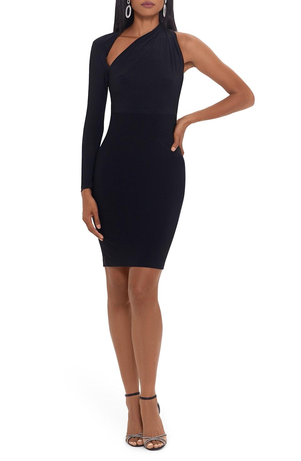 <p>This <span>Betsy &amp; Adam One-Shoulder Sheath Cocktail Dress</span> ($169) makes an alluring choice for an evening party. With the slashed neckline and one-shoulder silhouette, it has an architectural design. </p>