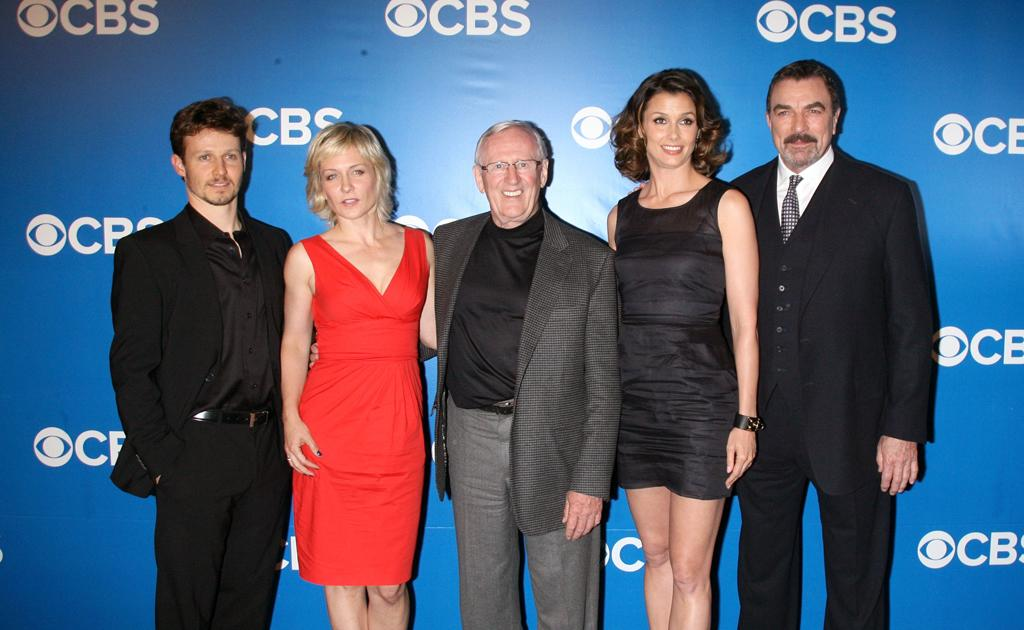 "Will Estes, Amy Carlson, Len Cariou, Bridget Moynahan, and Tom Selleck (""Blue Bloods"") attend CBS's 2012 Upfront Presentation on May 16, 2012 in New York City."