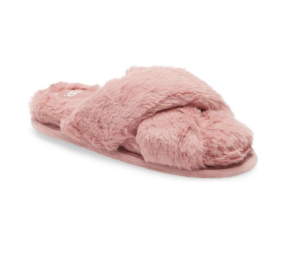 <p>These <span>BP. Sophie Criss Cross Plush Bedroom Slippers</span> ($30) are always a winning gift.</p>