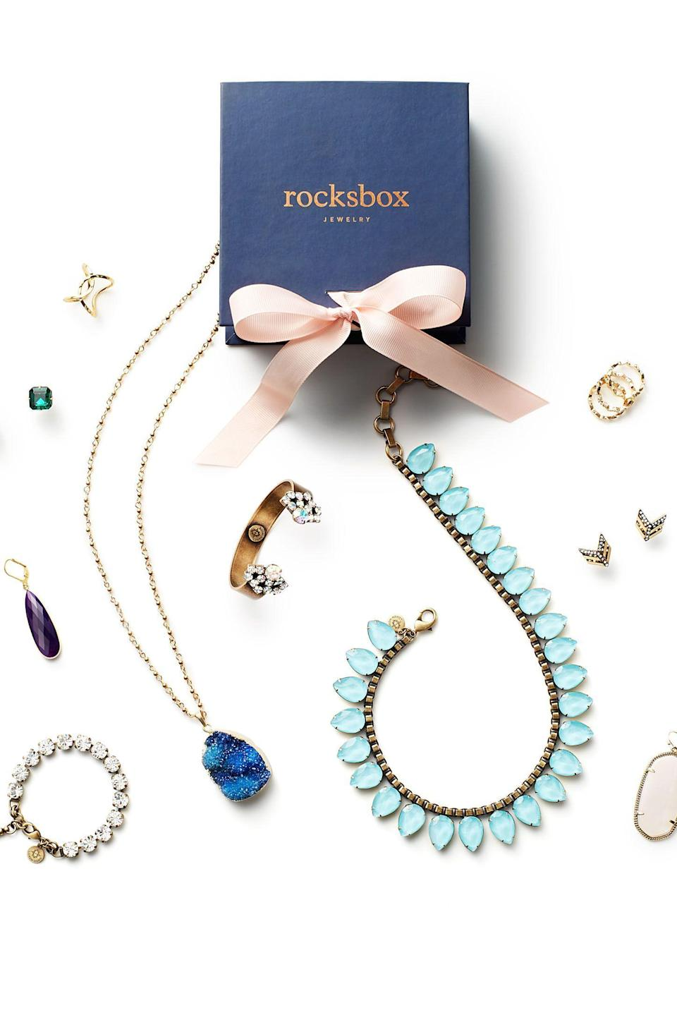 """<strong>Rocksbox</strong> rocksbox.com <strong>$49.00</strong> <a href=""""https://go.redirectingat.com?id=74968X1596630&url=https%3A%2F%2Fwww.rocksbox.com%2Fgifts&sref=https%3A%2F%2Fwww.goodhousekeeping.com%2Fholidays%2Fgift-ideas%2Fg4079%2Flast-minute-holiday-gifts%2F"""" rel=""""nofollow noopener"""" target=""""_blank"""" data-ylk=""""slk:Shop Now"""" class=""""link rapid-noclick-resp"""">Shop Now</a> When you sign her up for Rocksbox, she can look forward to three pieces of jewelry each month (choose from three-, six- or 12-month gift options). If she gravitates toward one piece in the selection, she can apply a $21 credit to her purchase (and mail back the rest).<br>"""